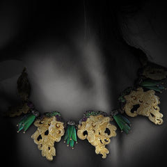 Carved Coconut shell Necklace with Scarab & Diamonds