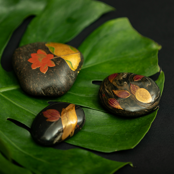 Spiritual Mansarovar Stone 'Paper Weight' with Japanese Lacquer