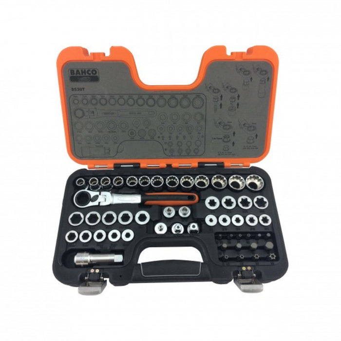 Socket Set 1/2DR Pass Through S530T Bahco 53pce 10-24mm