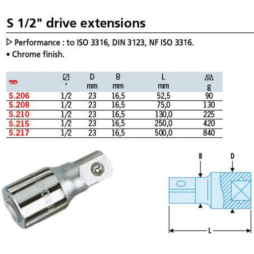 Extension 1/2dr x 52.5mm Facom S.206
