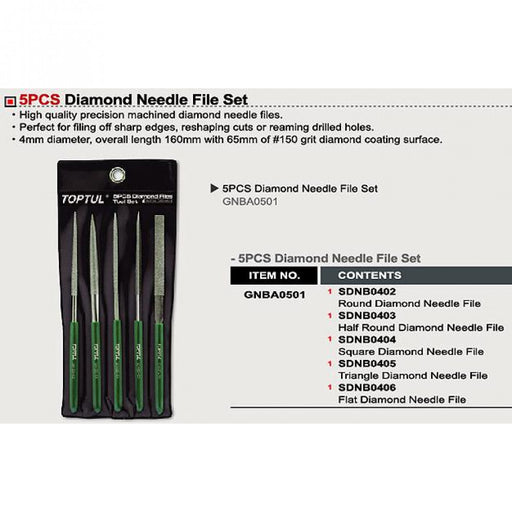 File Diamond Needle 5pc Toptul  GNBA0501