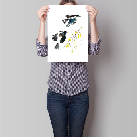 In Flight - two birds - Limited edition fine art print with gold and silver leaf hand embellishments. Edition of just 50 Available in 3 sizes A4, A3 and A2 By artist Chrissy Taylor