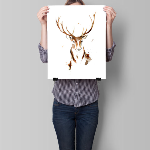 Red Stag - Limited edition fine art print with gold and silver leaf hand embellishments. Edition of just 50 Available in 3 sizes A4, A3 and A2 By artist Chrissy Taylor