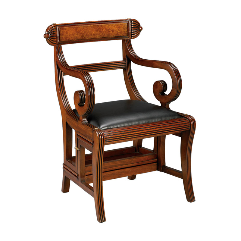 English Regency Library Chair, Leather