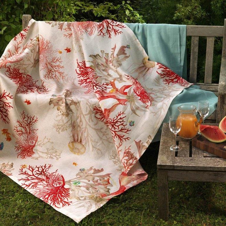 Tablecloth, AQUARIUS, CORAL