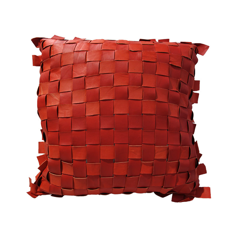 Red Lambskin woven cushion