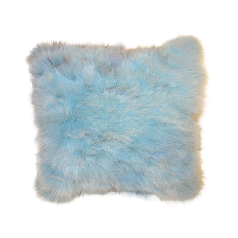Snow fox hair cushion - light blue