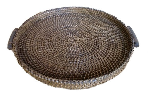 Round Hapao Tray Basket in stain brown
