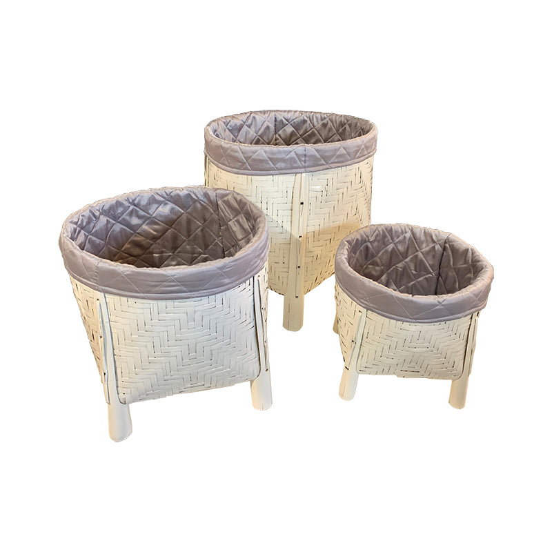 White High Gloss Rattan Basket
