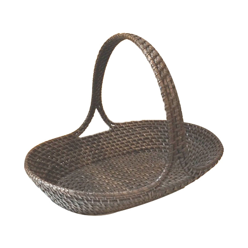 Beautifully woven wicker Basket generous handle in stain brown color, perfect for picnic or fruit bowl