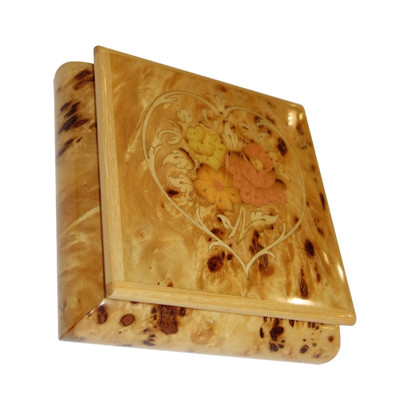 Burl Inlay Marquetry music box