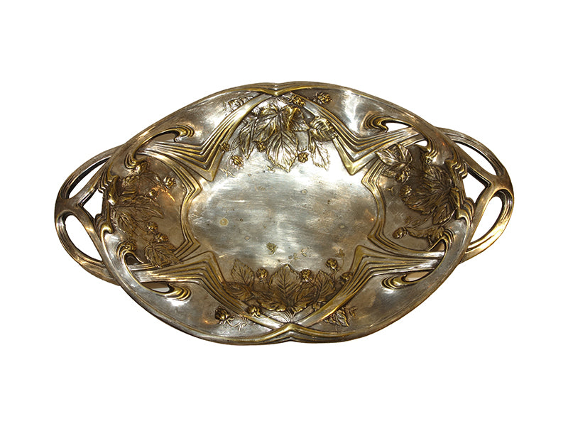 brass silver leaf fruit tray