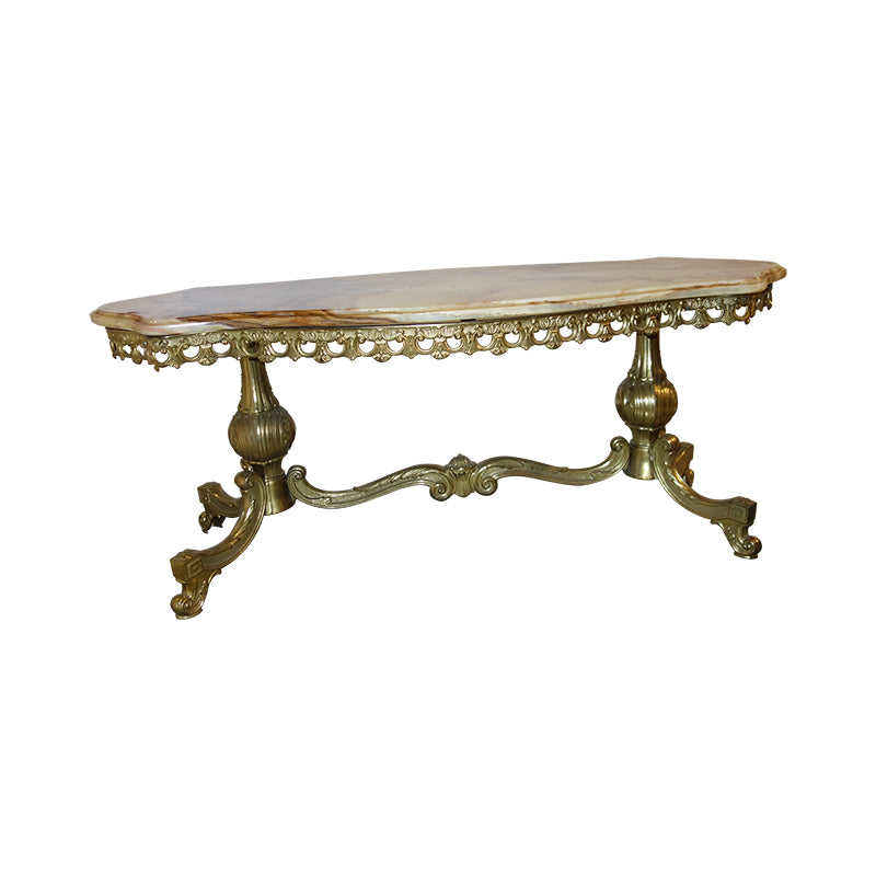 Marble Top, Brass Feet Coffee Table
