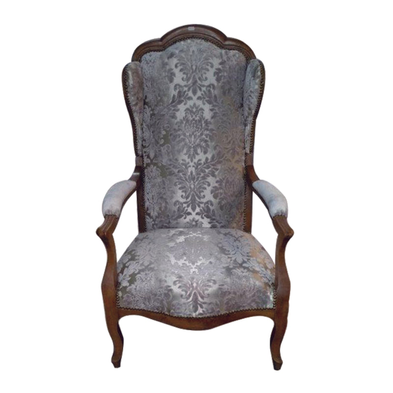 Napoleon III armchair, re-uplostered in new fabric, is chic and serene, conditon is consistent with normal wear and tear.