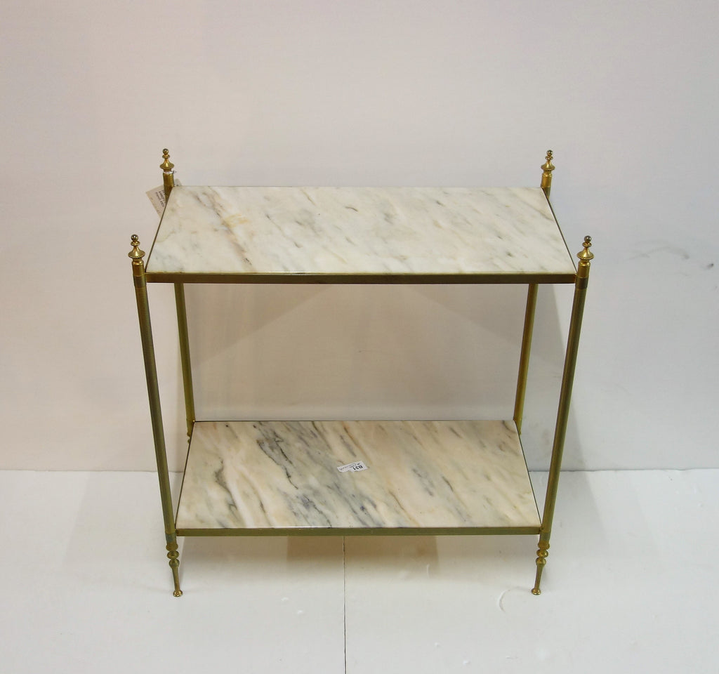 mid century brass marble 2 tier shelves, France