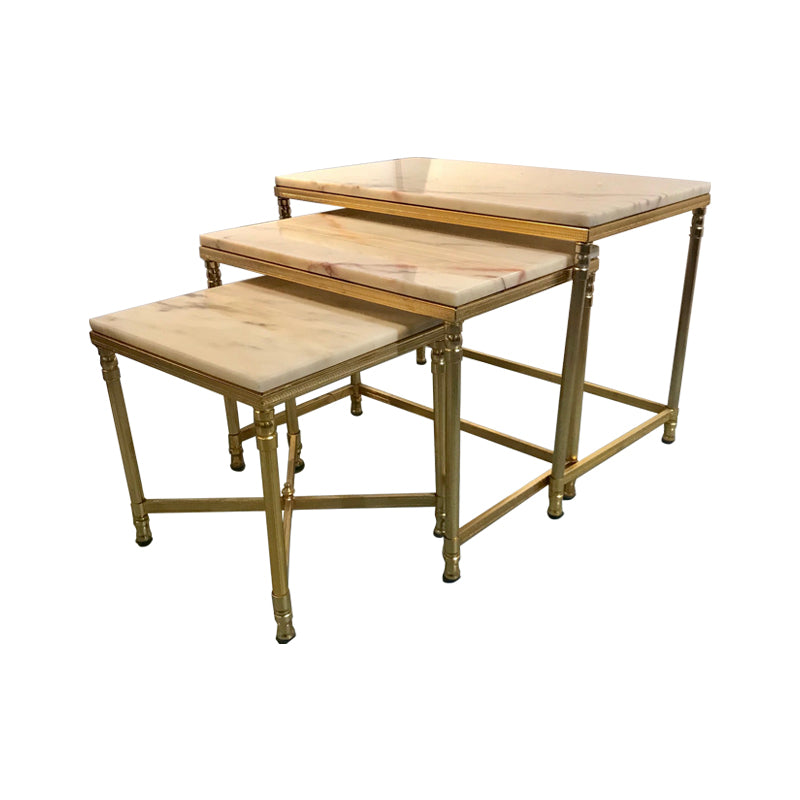 Mid century marble nesting table, it's just simply elegant in brass and marble.