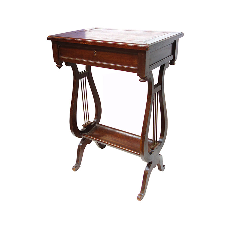 Lyre style sewing box side table, France