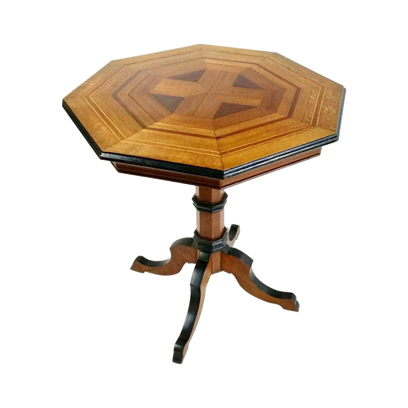 Solid built in intricately arranged oak parquets and beautiful geometric turn legs, this Octogan table is definite eye-catcher.  France, 1890