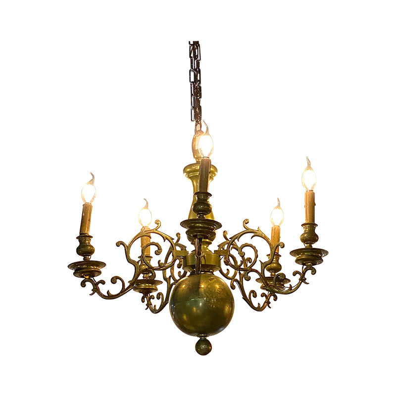 Baroque French brass chandelier