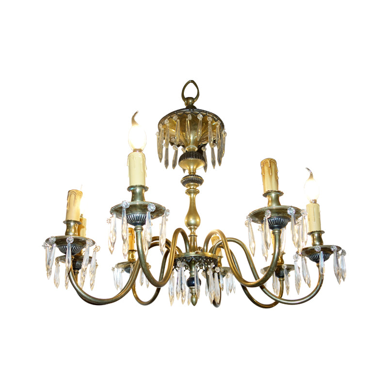 This neoclassical period of crystal & brass chandelier has been refitted with E14 socket so LED light bulbs can be adapted.  This chandelier showcases the perfect balance of luxury and elegance.