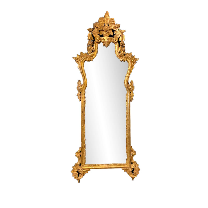 Louis XV style gilt mirror floral crown French Vintage
