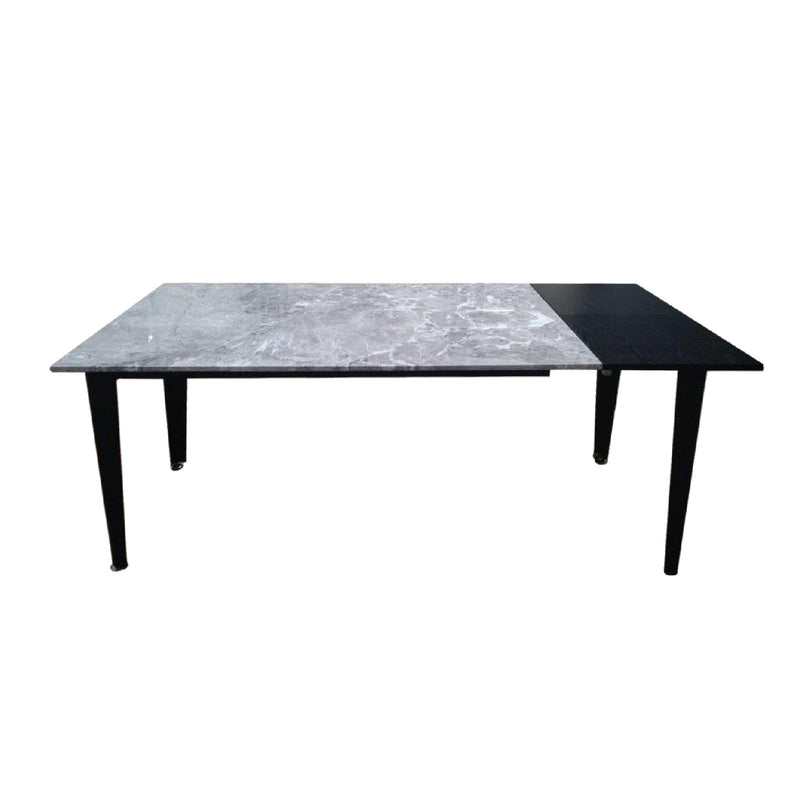 Extended  from 135 to 175cm , fixed marble top  with black oak veneer as an extension, this table can sit from 6 to 8 people.