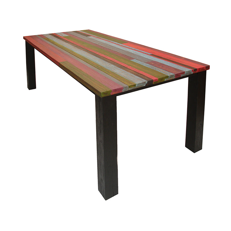 Stunning combination of multi-colored mono-coating teak plank, Spectrum is ideal for outdoor where rainbow like colors blend into the nature environment. Seat 8 people effortlessly.