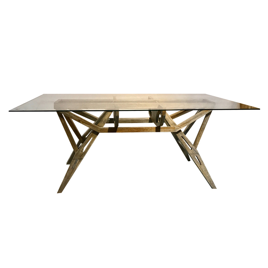 butterfly-dining table with glass top