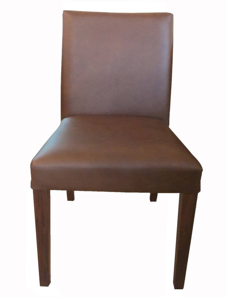 Solid Walnut Chair upholstered full leather provides superb comfort in simple style.