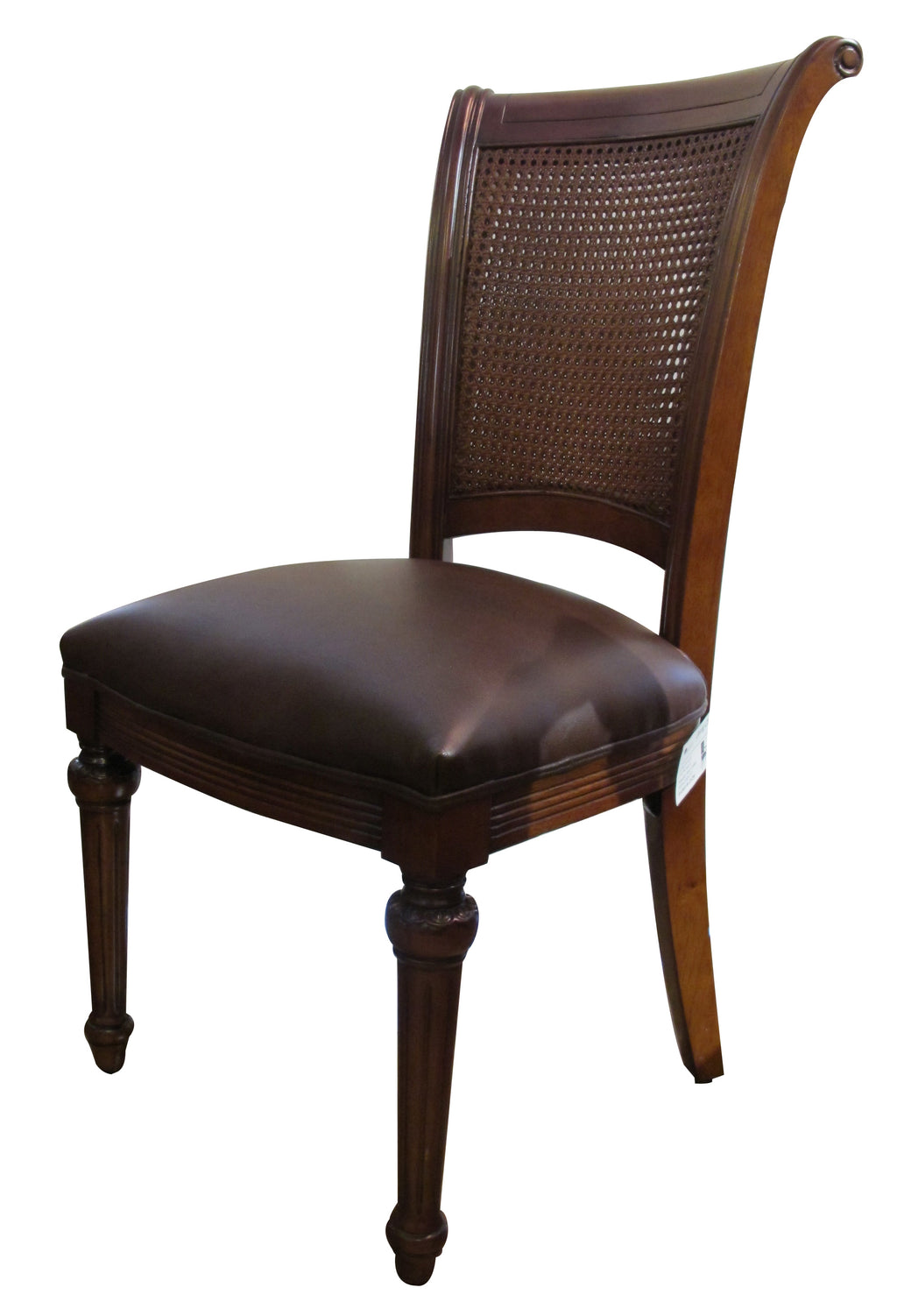Canes Leather side chair w rattan back