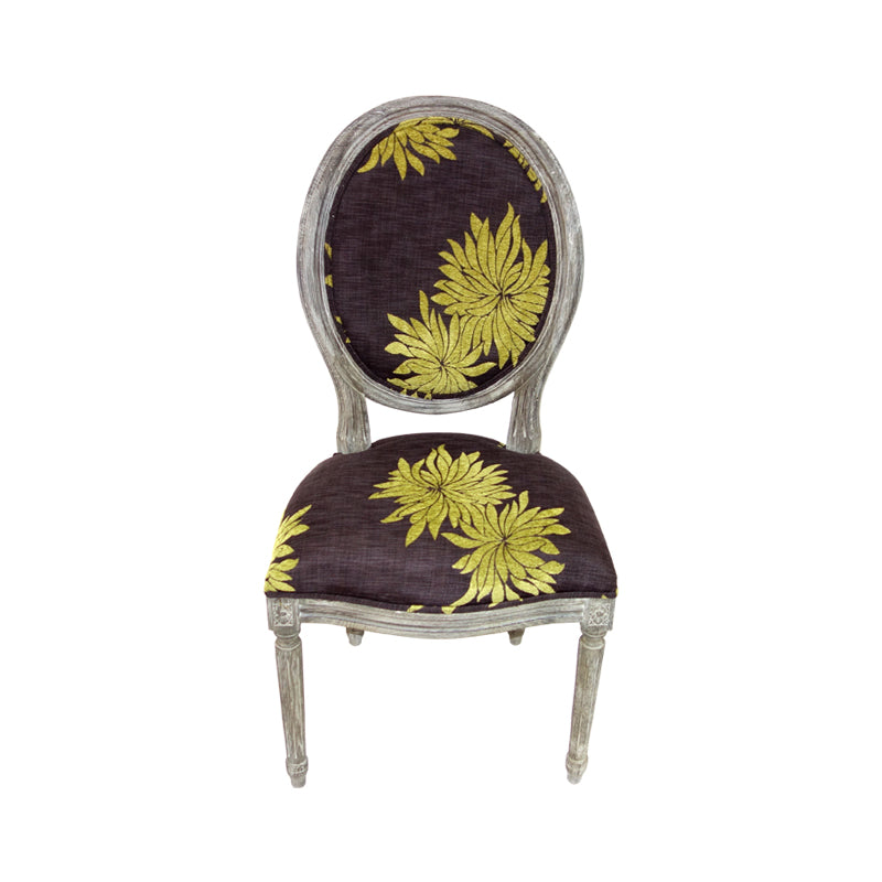 modern medallion chair in floral fabric