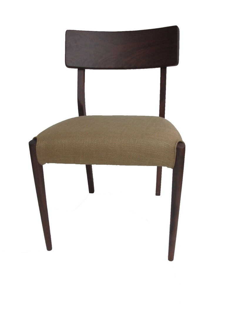 Tastefully made simple back chair, Koi chair is adaptable to mid century or modern dining tables. in solid walnut wood.