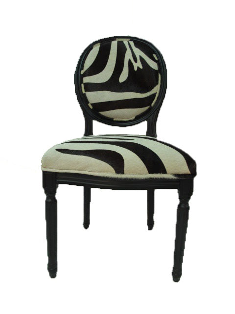 Medallion French chair in leather or cowhide