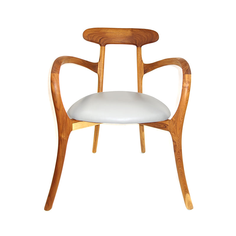 Pi embodies fun and artful work in one chair, Teak + leather