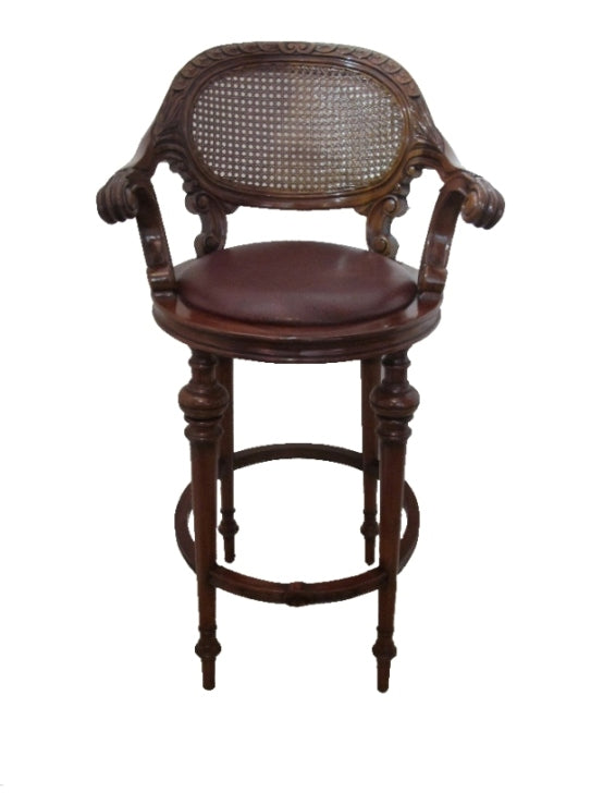 Classical barstool in leather swivel seat
