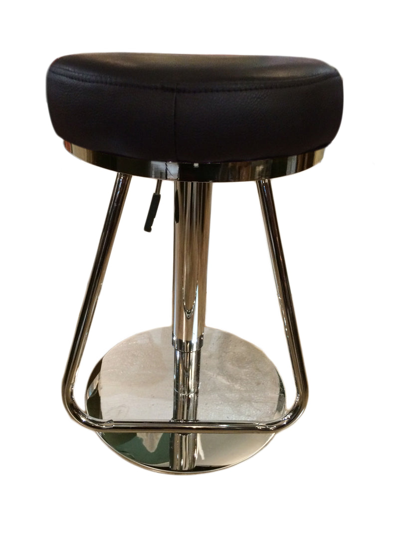 tall diner bar chair in geniune leather seat, stainless steel swivel base,