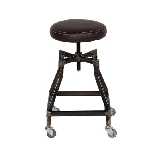 Indus Bar Chair made of leather and steel, the center screwed axel enables adjustable height.