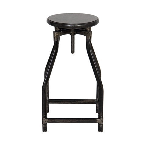The height of bar stool is adjustiale by turning the center axal, this chair features industrial style.