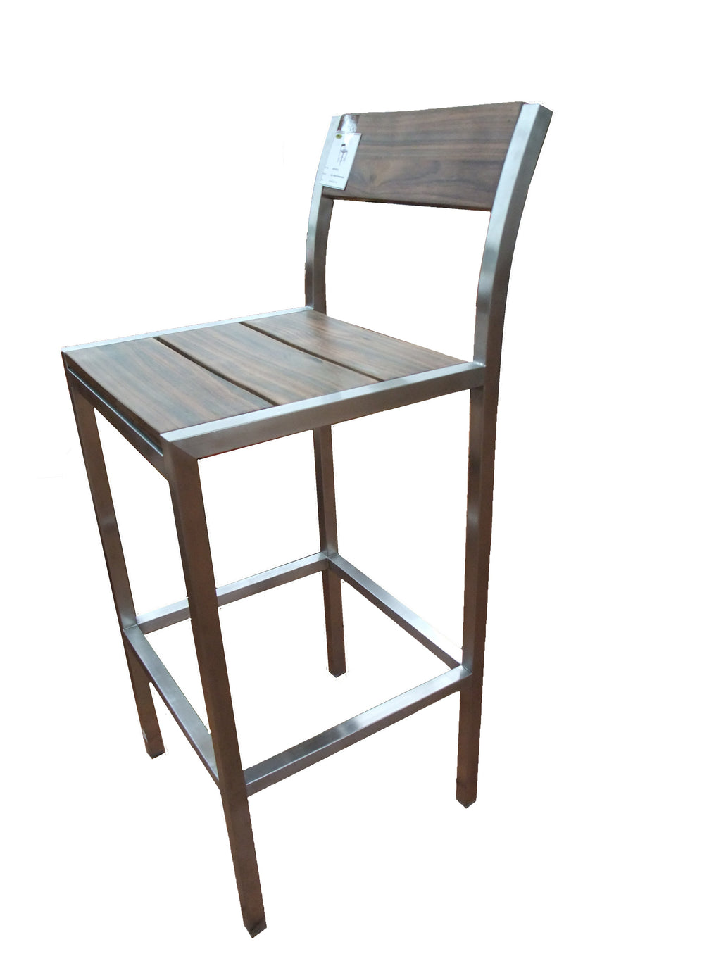Simple but elegant rosewood bar high chairs, 304 stain steel, its durable to use indoors or outdoors. Match with Titan Arus Bar Table.