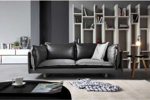 Carlos leather fabric sofa