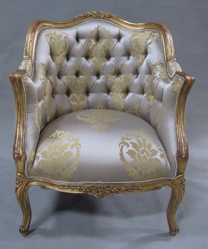 Louis XV style sofa, hand tufted button fabric antique gold frame,