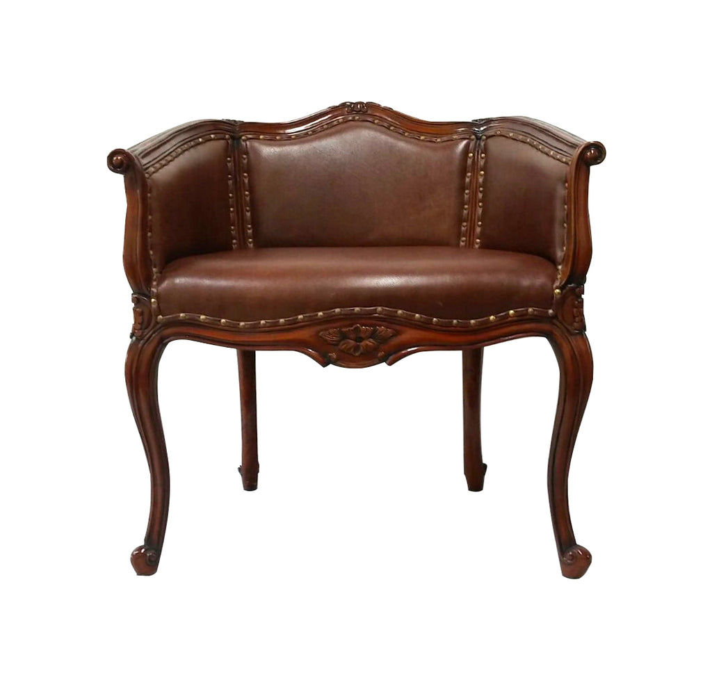 The low back  chair with generous seating comes in leather seat and fine cowhide hairon back, the stylish vanity stool is suitable for dresser or in sitting room.