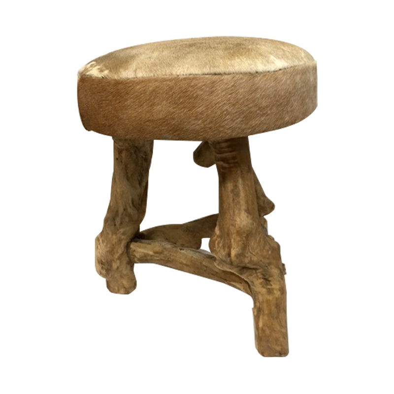 You can't pass by this stool without noticing it, it's whimsically made with goat hair top and coffee tree legs.