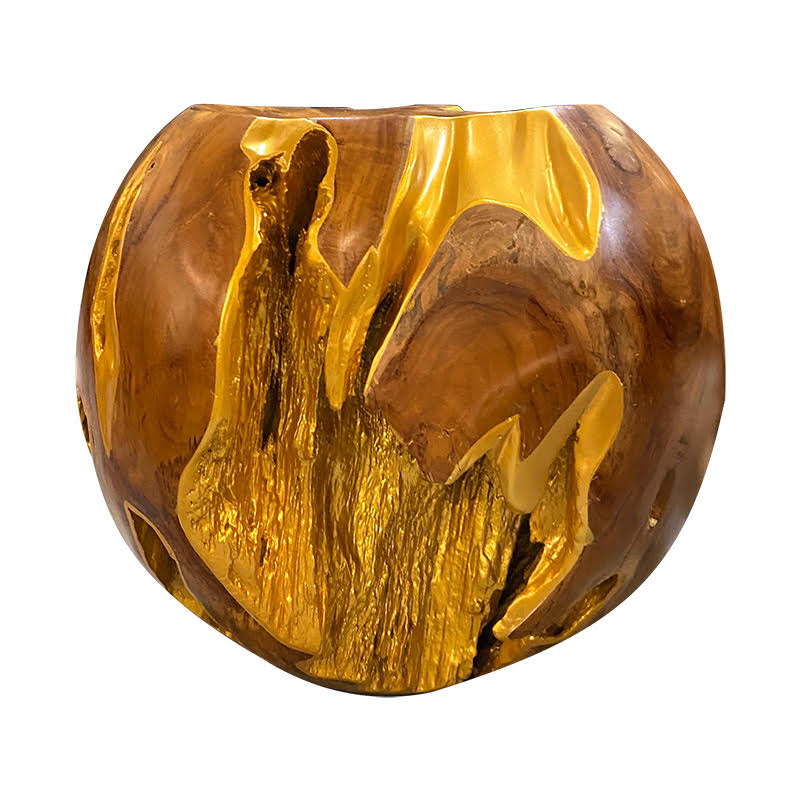 Teak Roots Stool 50cm (Dia.), Gold