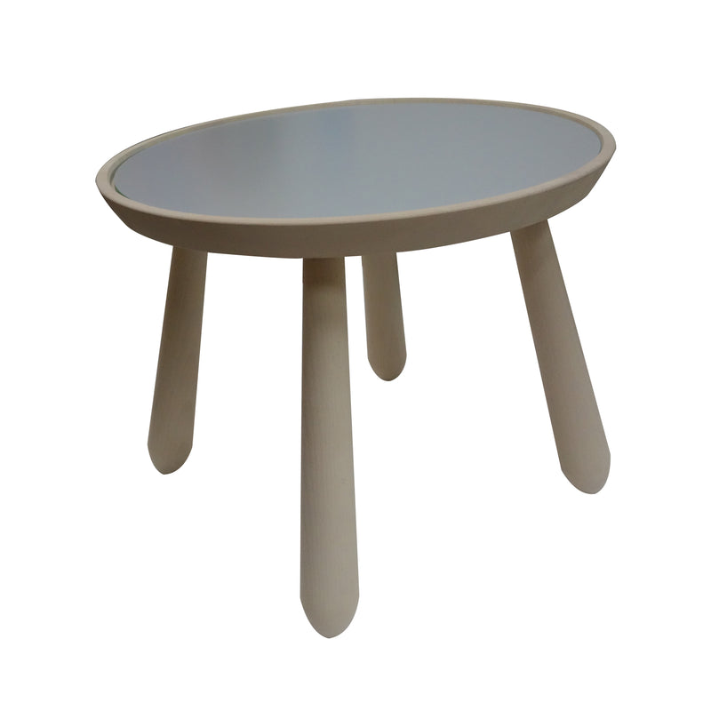 Simple coffee table with a twist, turning the center top around you get another color, it can be adaptable depending the mood and color scheme of room or furniture around. Made of beech and laminated top. From Sweden.