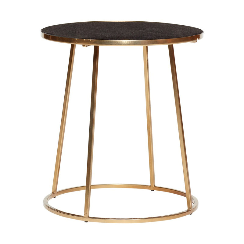 Hubsch modern chic side table in gold frame marble top Denmark brand- Hübsch.