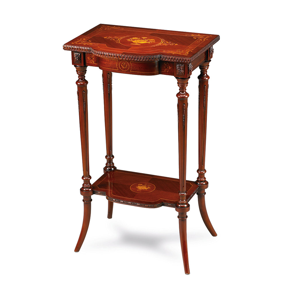 Side Table with Antoinette style made of Mahogany. Tropical and exotic light-colored wood sorts have been used to realize the flowery veneer. Wood carvings on the turned legs complete this piece of art.