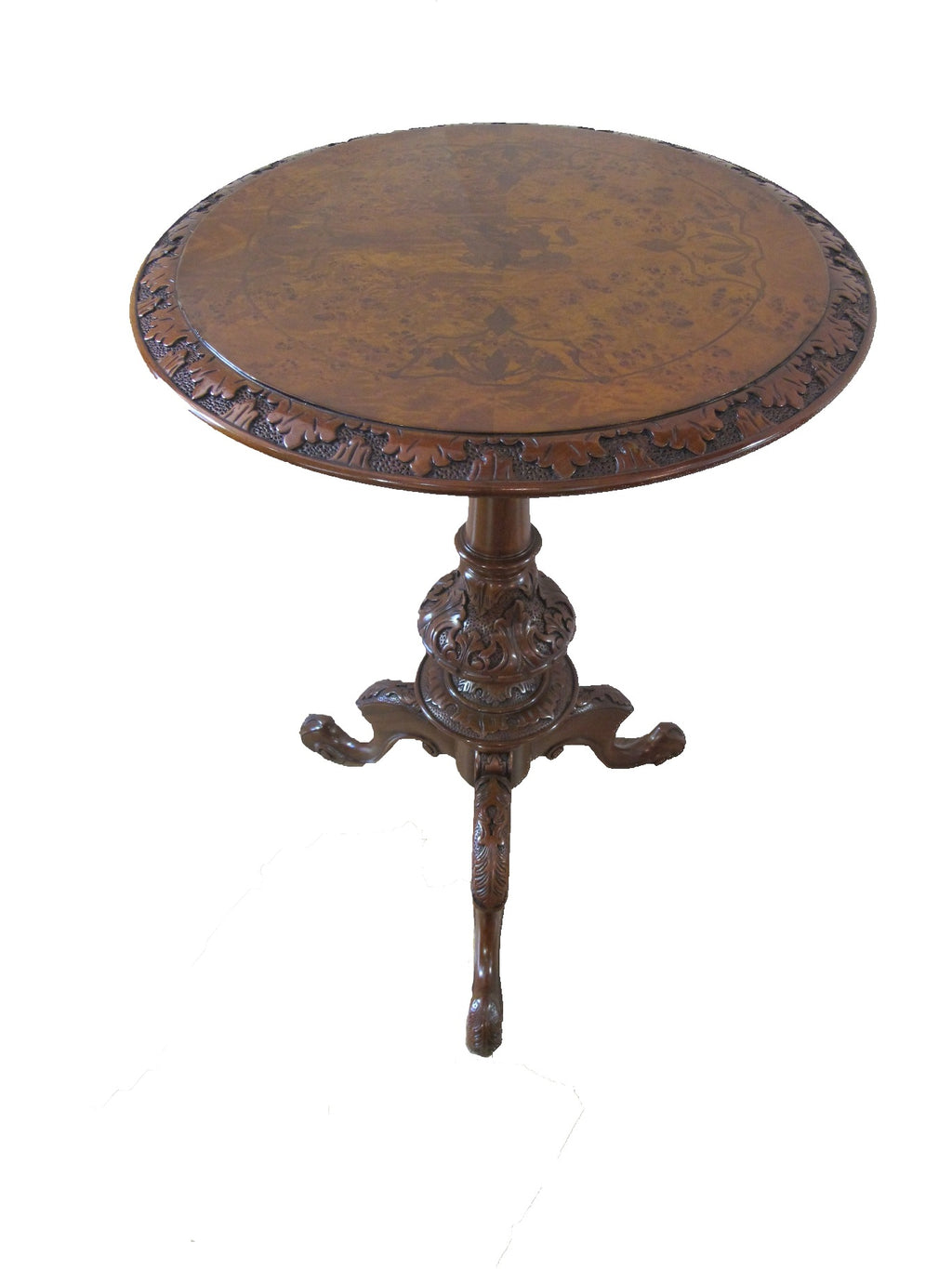 Beautiful  hand made inlaid  round Table features a horse man in a scenic setting, the tripod legs are intricately carved for extra details , made of mahogany & burl wood.