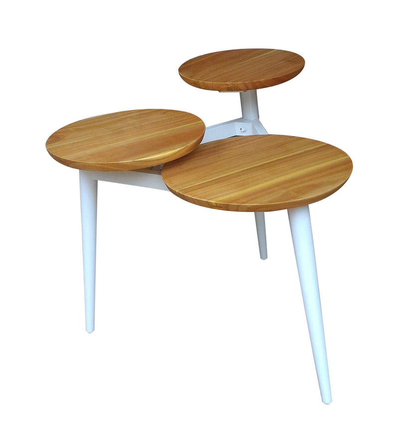 Trio end table hand made of teak , three different size tops in cascading height,  it creates interesting visual with home decors.