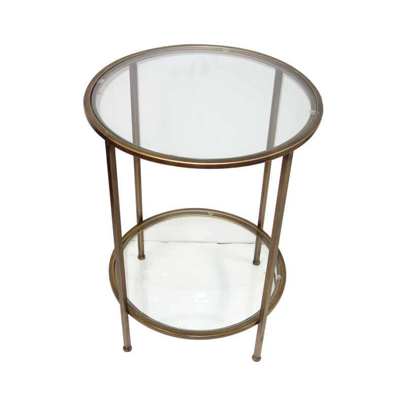 round glass in gold frame side table